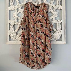 Women's Plus Sleeveless Bird Button Front Blouse